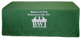 Green Eight Foot Custom Tablecloth with Logo.