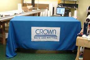 Blue and White Custom Tablecloth with Logo.