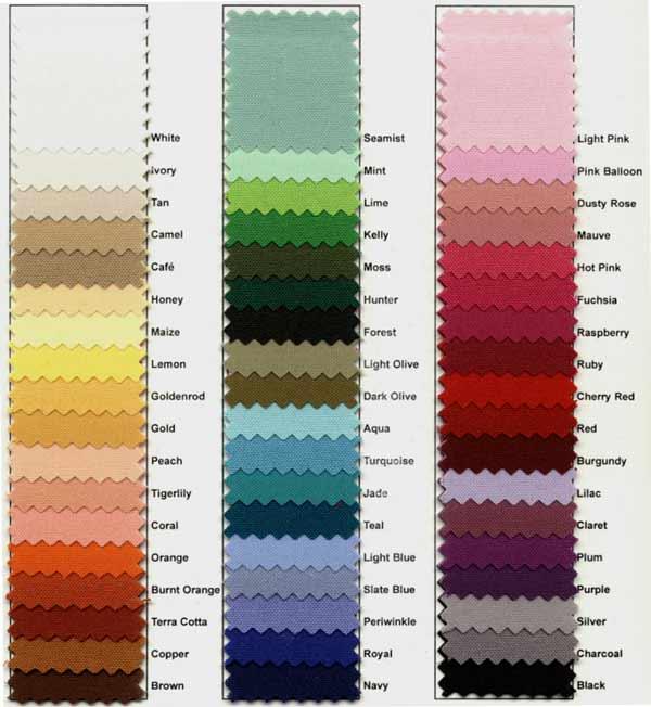 Custom Tablecloth Color Chart